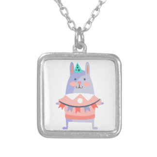 Rabbit With Party Attributes Girly Stylized Funky Silver Plated Necklace