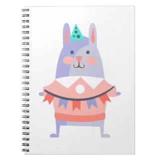 Rabbit With Party Attributes Girly Stylized Funky Spiral Notebook