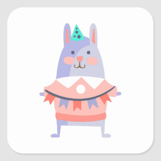 Rabbit With Party Attributes Girly Stylized Funky Square Sticker