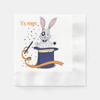 Rabbit with top-hat and magic wand paper napkins
