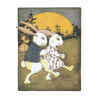 Rabbits and Rising Sun Postcard