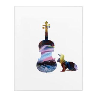 Rabbits and viola acrylic wall art