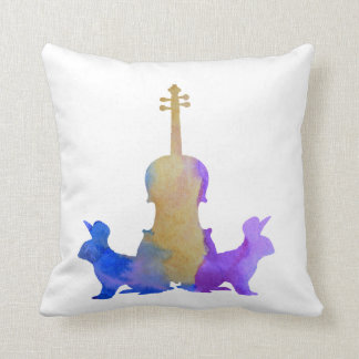Rabbits and viola cushion