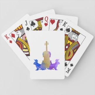 Rabbits and viola playing cards