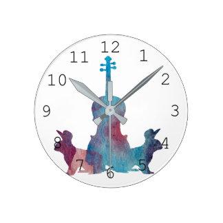 Rabbits and viola round clock