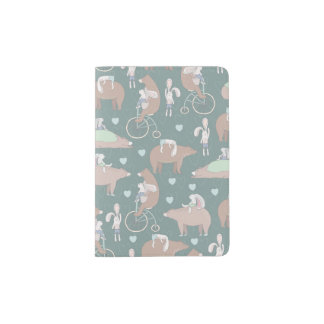 Rabbits, Bears, and Bicycles Pattern Passport Holder