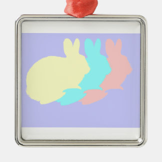 Rabbits, Bunnies or Easter Rabbits Silver-Colored Square Ornament