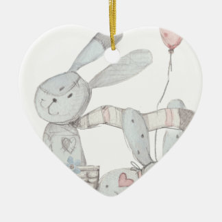 rabbits ceramic heart decoration