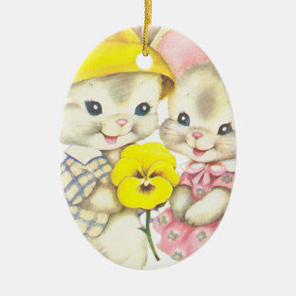 Rabbits Ceramic Oval Decoration
