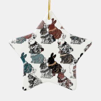 Rabbits Ceramic Star Decoration