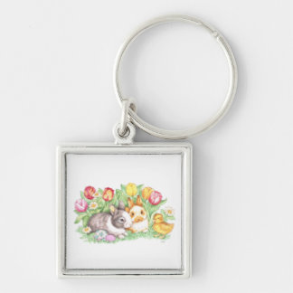 Rabbits Easter Bunny Keychain Silver-Colored Square Keychain