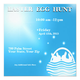 Rabbits in a Basket Easter Egg Hunt Invitation