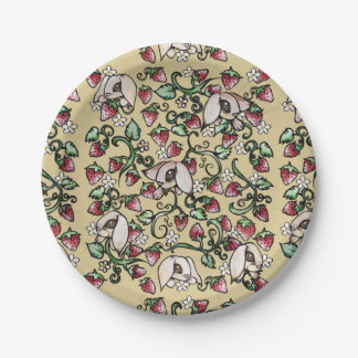 Rabbits in a Strawberry Patch 7 Inch Paper Plate