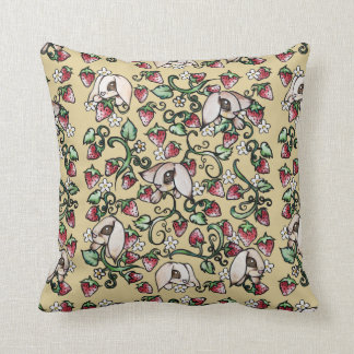 Rabbits in a Strawberry Patch Cushion