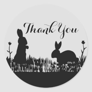 Rabbits in Meadow Silhouette Thank You Stickers