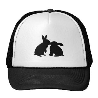 Rabbits Kissing silhouette Cap