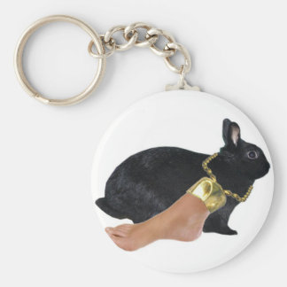 Rabbit's Lucky Human Foot Basic Round Button Key Ring