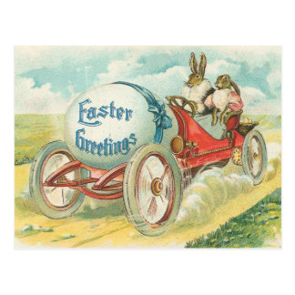 Rabbits on a Sunday Drive - Easter Gift Postcard