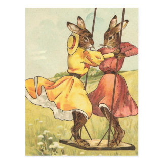 """Rabbits on a Swing"" Vintage Easter Postcard"