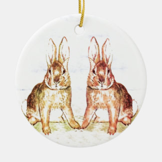 Rabbits Round Ceramic Decoration