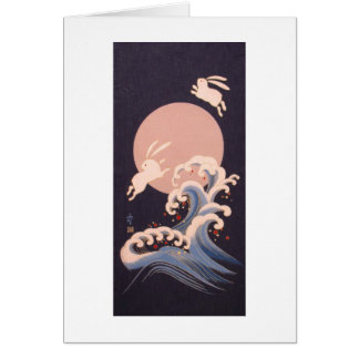 Rabbits with Full Moon and Waves Greeting Card