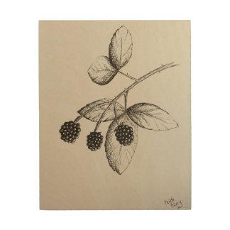 Rabbitswood Blackberries Illustration Wood Art