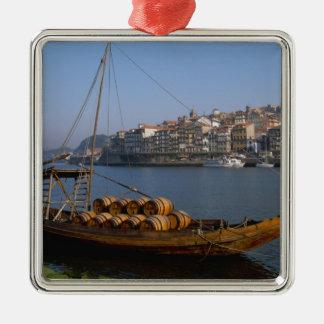 Rabelo Boats, Porto, Portugal Silver-Colored Square Decoration