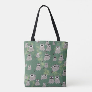 Raccoon Allover Print Tote Bag