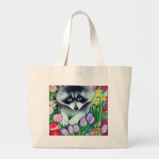 Raccoon and tulips large tote bag