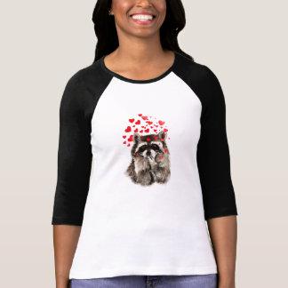 Raccoon Blowing Kisses Love Hearts Funny Animal T-Shirt