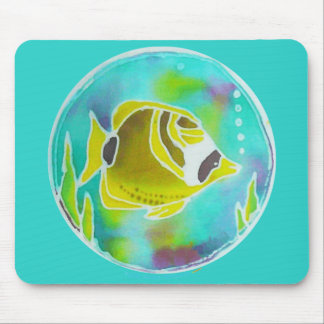 Raccoon Butterfly Fish Batik Art Mouse Pad