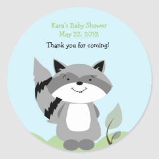 Raccoon Enchanted Forest Baby Shower Favor Sticker