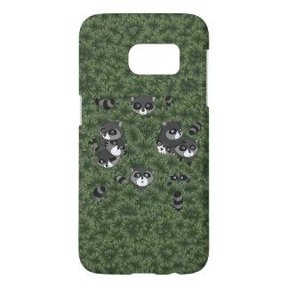 Raccoon Family in a Bush