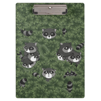 Raccoon Family in a Bush Clipboard