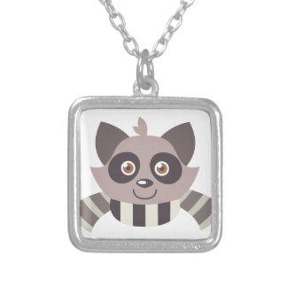 Raccoon Head Silver Plated Necklace