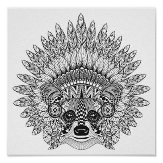 Raccoon In Feathered War Bonnet Doodle 2 Poster