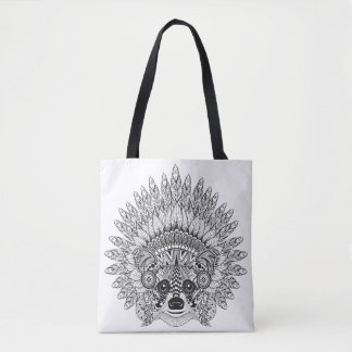 Raccoon In Feathered War Bonnet Doodle 2 Tote Bag