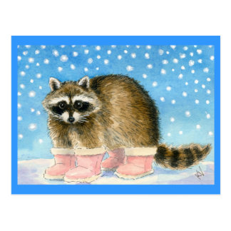 Raccoon in pink boots postcard