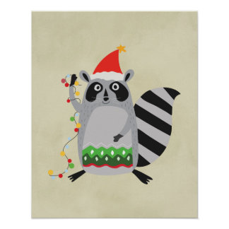 Raccoon In Santa Hat Tangled Up In Holiday Lights Poster