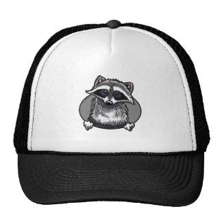 Raccoon Line Art Cap