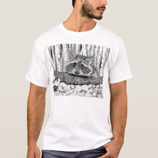 Raccoon Pen and Ink Drawing T-Shirt