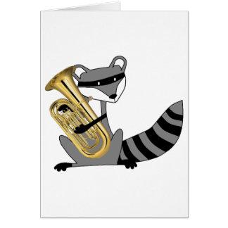 Raccoon Playing the Euphonium Greeting Card