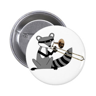 Raccoon Playing the Trombone 6 Cm Round Badge