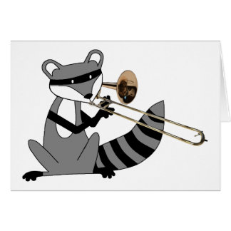 Raccoon Playing the Trombone Greeting Cards