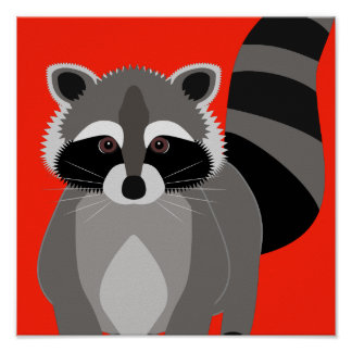 Raccoon Rascal Poster Custom Background Color