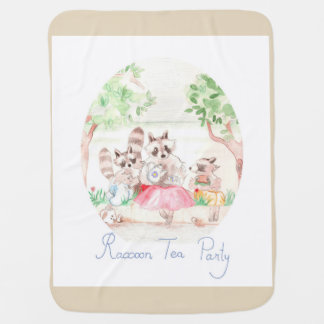 """Raccoon Tea Party"" Baby Blanket Beige"