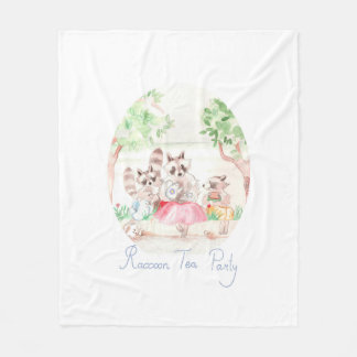"""Raccoon Tea Party"" Fleece Blanket Medium"
