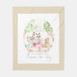 """Raccoon Tea Party"" Fleece Blanket Medium Beige"