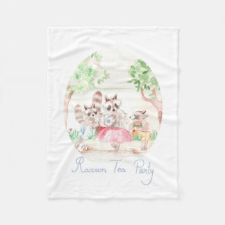 """Raccoon Tea Party"" Fleece Blanket Small"