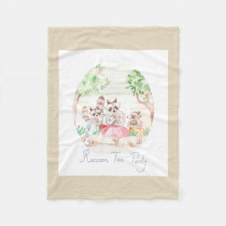 """Raccoon Tea Party"" Fleece Blanket Small Beige"